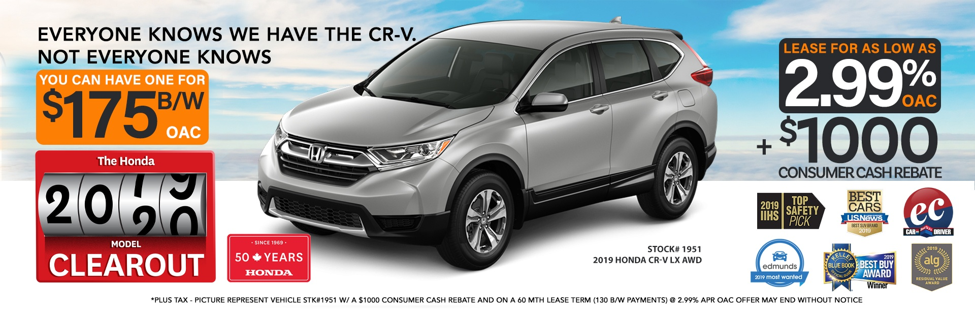 $1000 off in-stock 2019 Honda CR-Vs (see in-store for details)
