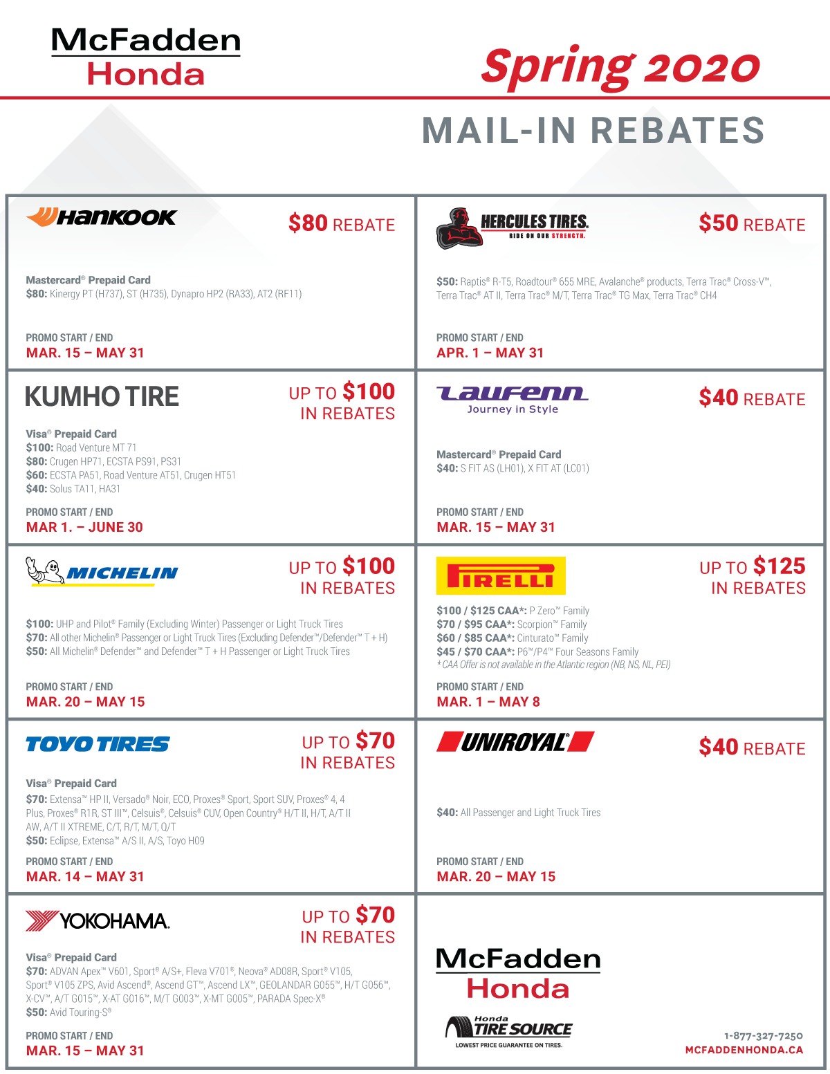 tire rebates spring 2020