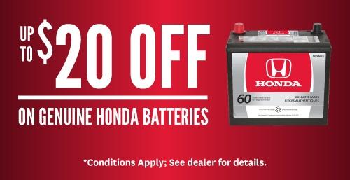 Up to $20 Off Genuine Honda Batteries