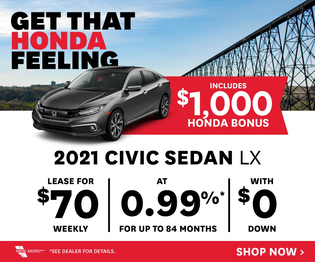 2021 Civic Sedan LX - Lease for $70 Weekly at 0.99% for up to 84 months with $0 down.